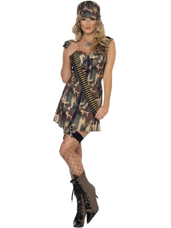 Army Women's Sexy Camouflage Dress Up Costume - Front