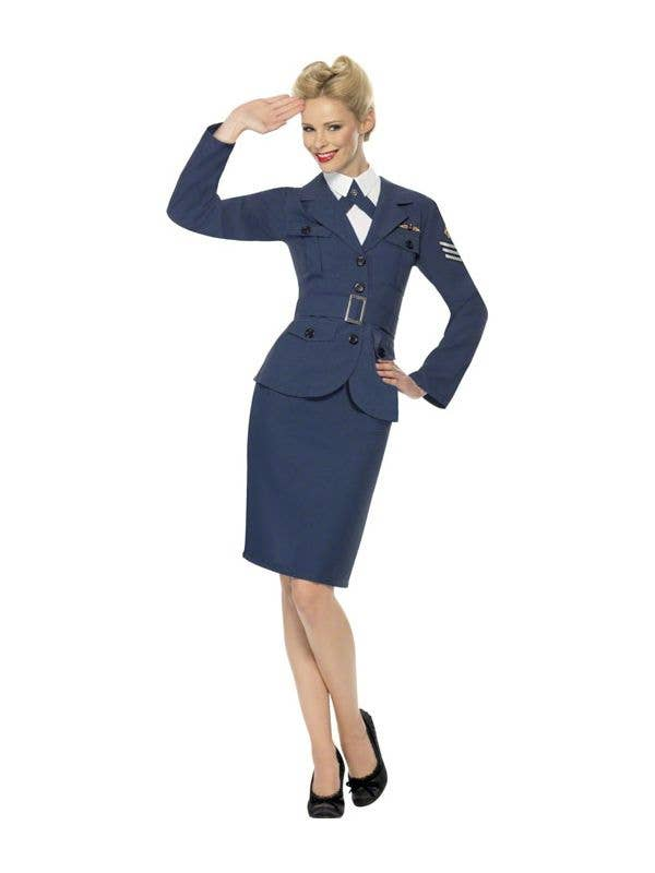 Womens 1940s Navy Blue Air Force Captain Costume Military Uniform - Main Image