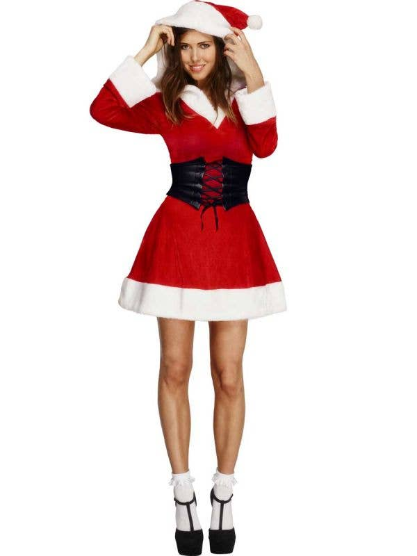 Sexy Hooded Santa Costume with Black Belt - Front View