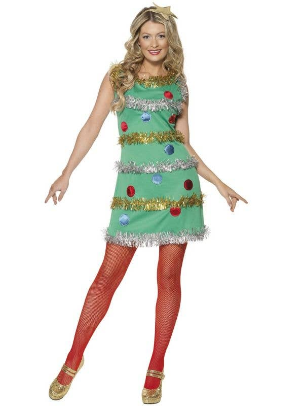 Women's festive tree sexy christmas costume with star headband - Image 1
