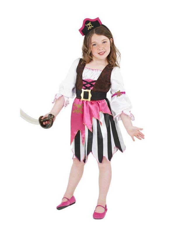 Girls Pink Pirate Costume Front View