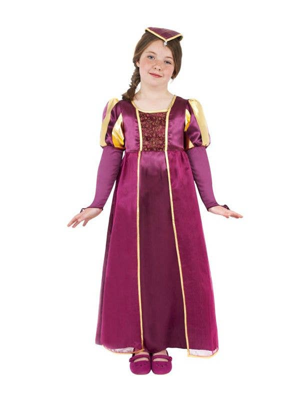 Girl's Burgundy Medieval Costume Front View