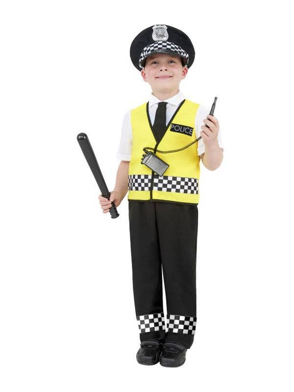Boy's Police Officer Book Week Costume with Yellow Vest Front
