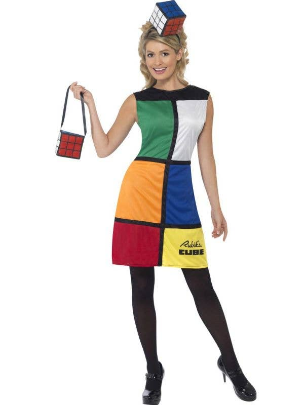 Funny 80's Women's Rubik's Cube Costume Dress Front View