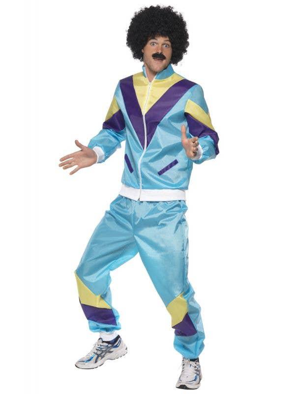 Men's 1980's Blue Tracksuit Fancy Dress Costume Front
