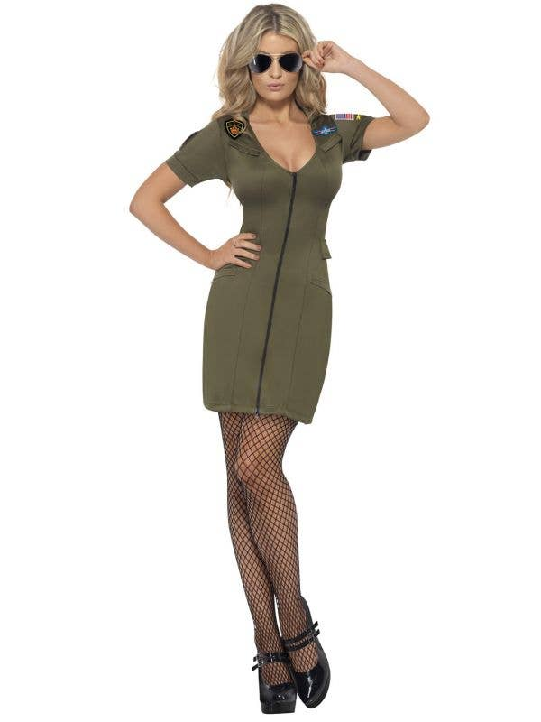 Women's Top Gun Sexy Movie Character Fancy Dress Costume Front View