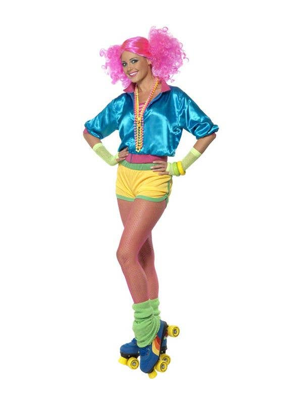 Womens 80s Neon Roller Disco Costume Front View