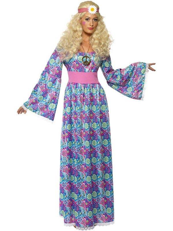 25b946fd81 Blue Women s Retro Hippy Maxi Fancy Dress Costume Front View