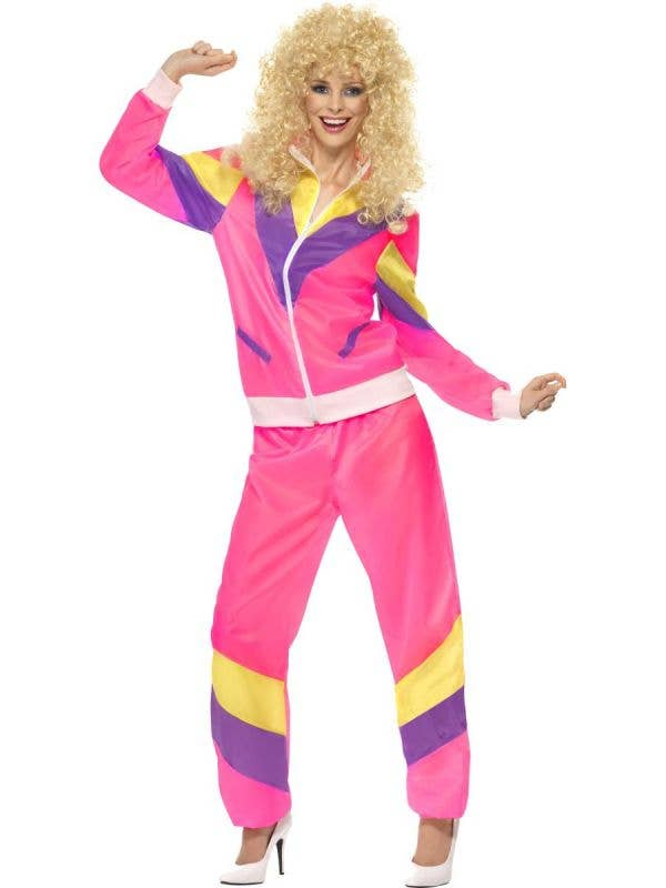 Women's 80's Pink Shell Suit Retro Costume Front View
