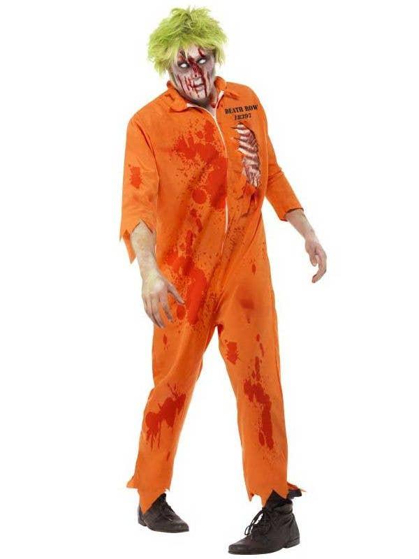 mens zombie prisoner orange jumpsuit costume front