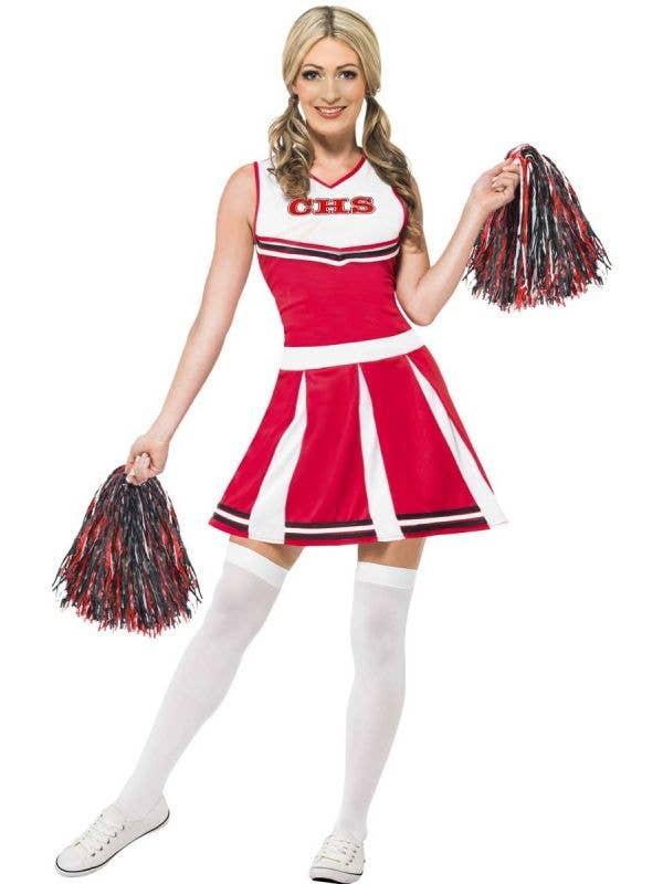 Women's Red Cheerleader Fancy Dress Costume Front View