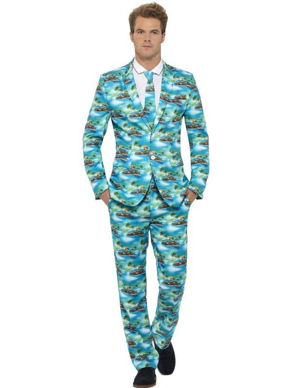Men's Tropical Hawaiian Print Stand Out Suit Costume Image 1