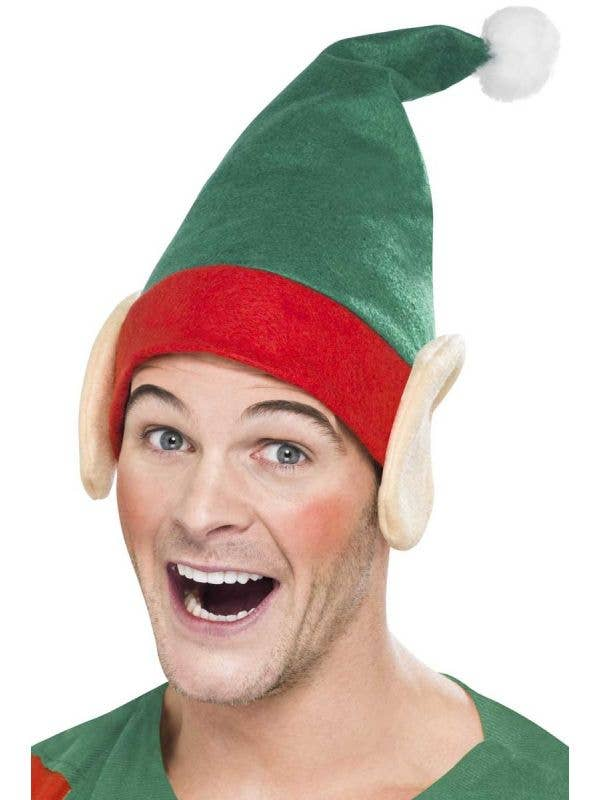 Hilarious Red and Green Christmas Elf Costume Hat with Ears