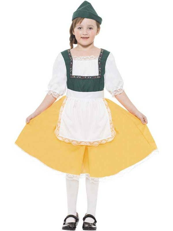 c90c6e694 Yellow Bavarian Girl Costume | Oktoberfest Kids Fancy Dress Costume