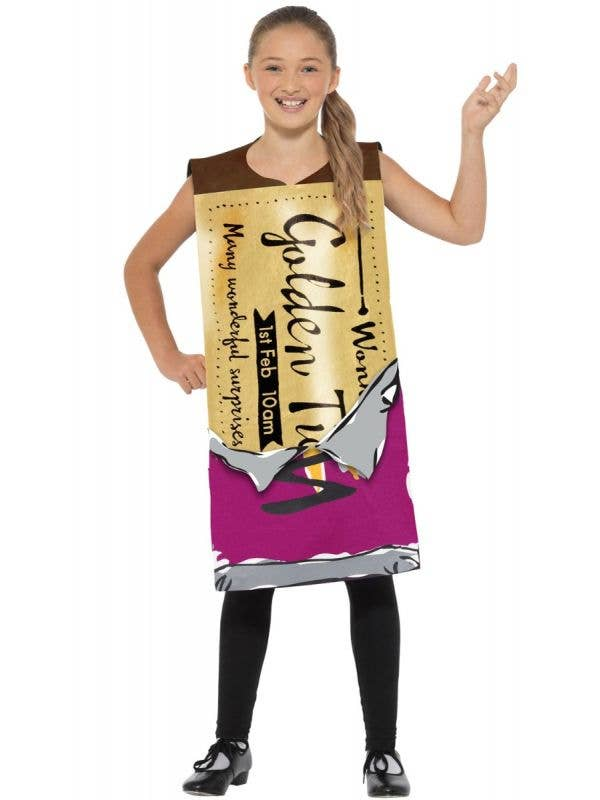 Kids Winning Golden Ticket Wonka Bar Roald Dahl Book Week Costume Main Image