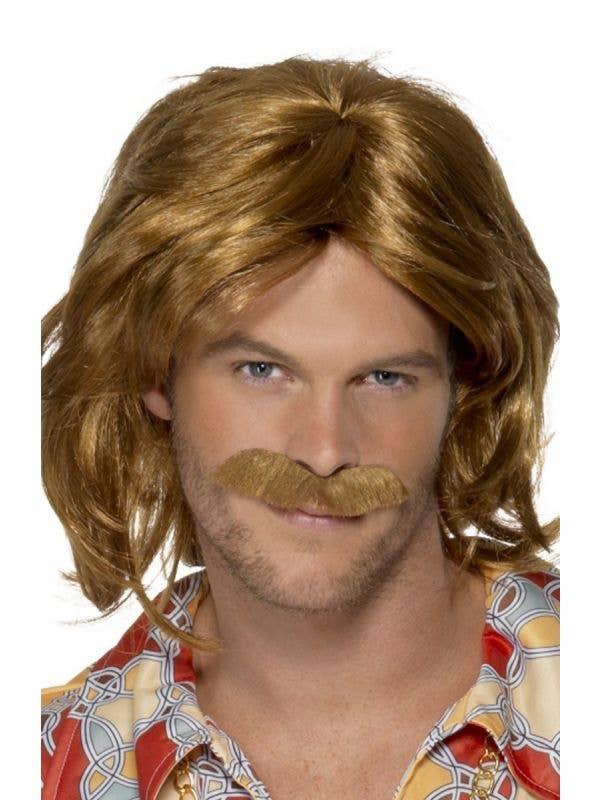 Men's 1970's Super Trouper ABBA Brown Wig and Moustache Set