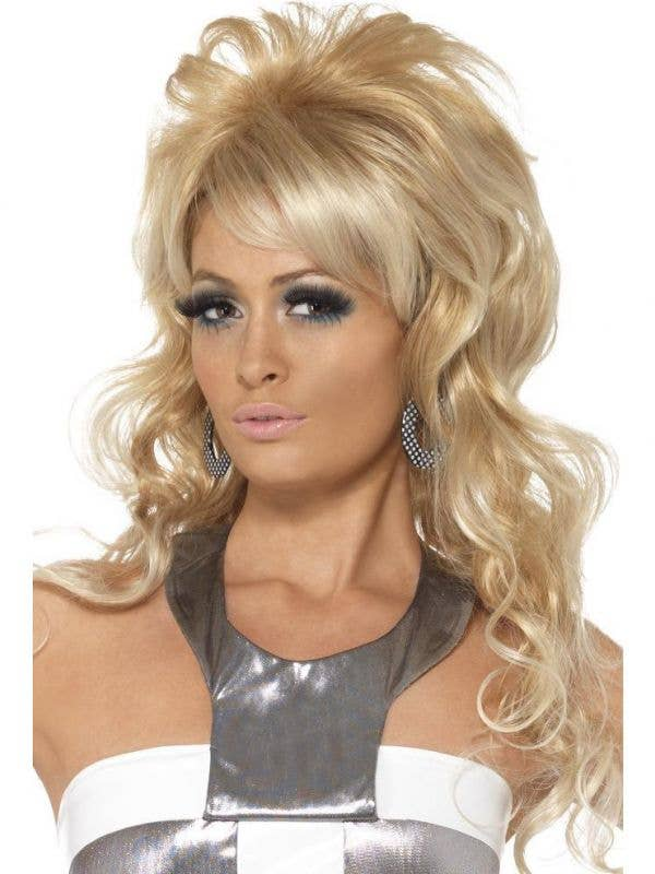 Womens Curly 1960s Costume Blonde Wig - Main Image