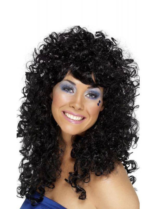 1980's Boogie Babe Women's Curly Black Perm Wig Costume Accessory