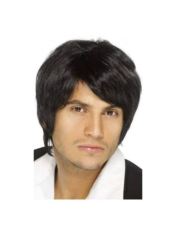 Men's Black Boy Band Costume Wig Main Image