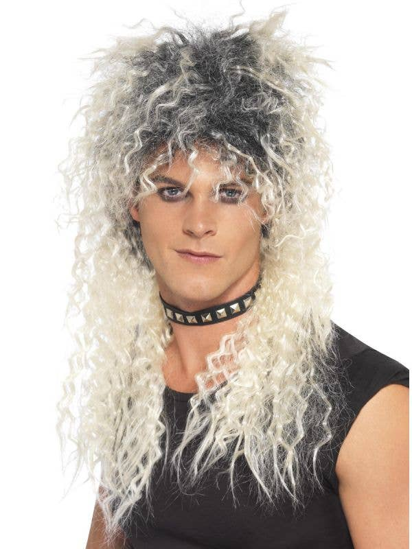 80s Fashion Men's Crimped Blonde 1980's Punk Rocker Costume Wig with Dark Roots - Main Image