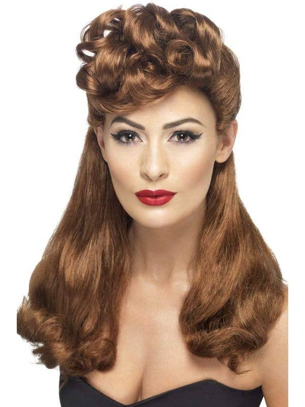 Women's Brown 1940's Vintage Pin Up Costume Wig