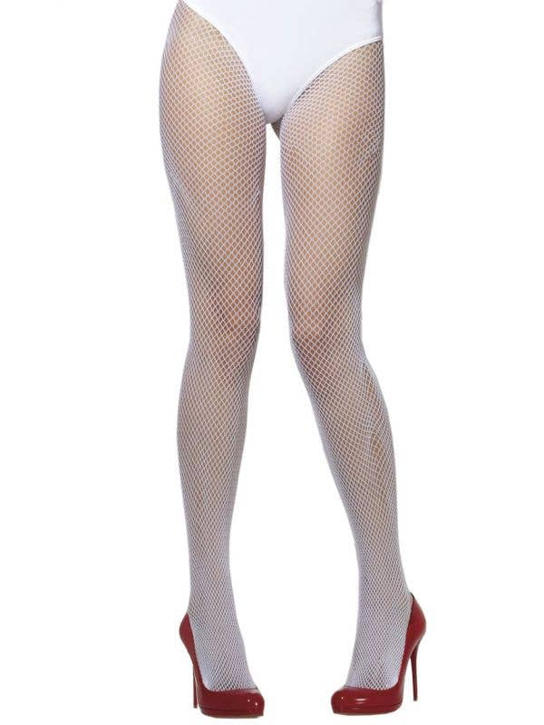 1fece8ce5ee Women s Full Length White Fishnet Stockings Front View