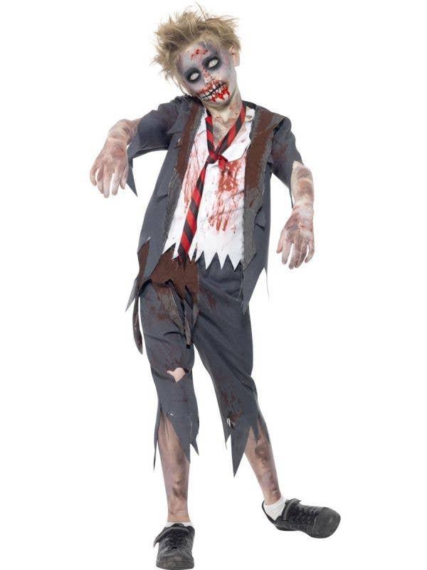 Boy's School Student Zombie Halloween Costume Front View