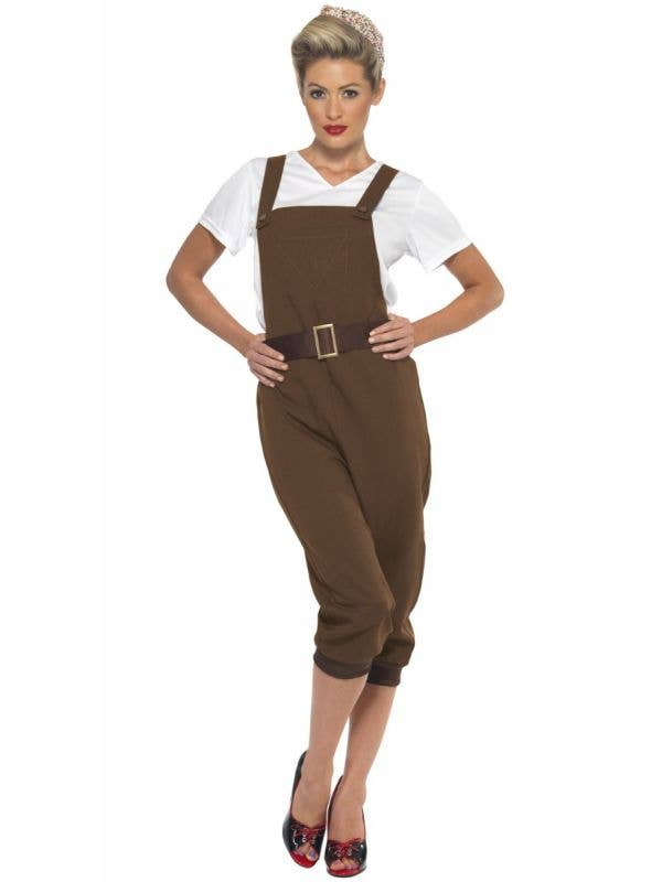 Women's Khaki Brown WW2 Land Girl 1940's Costume Main Image