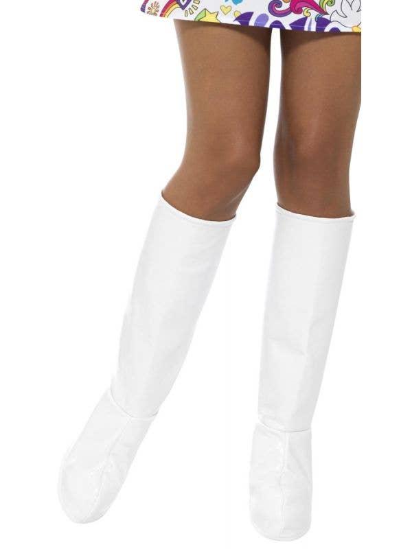 Women's White 1960's Retro GoGo Boot Covers Costume Accessory Main Image