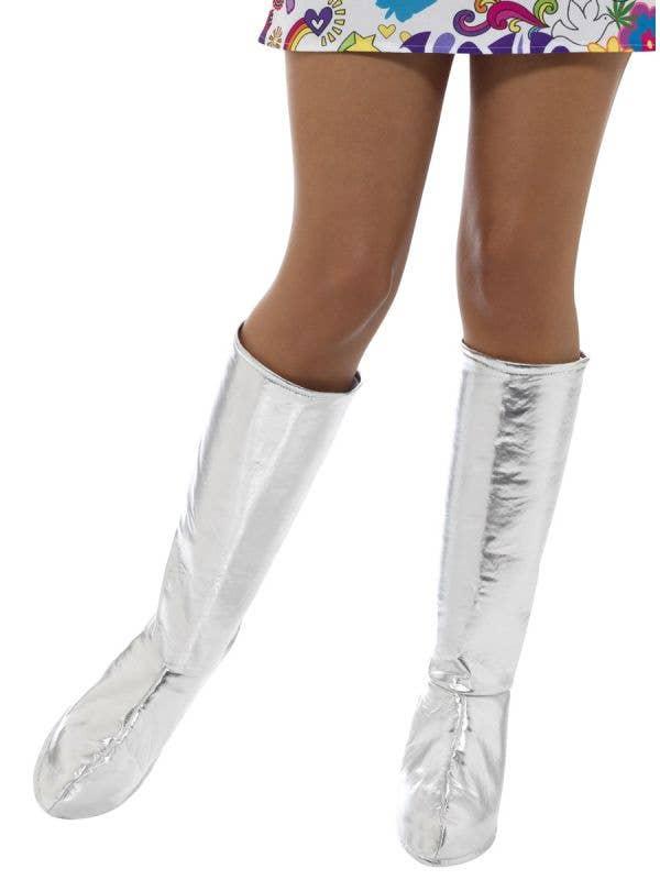 Womens Metallic Silver Go Go Boot Covers 60s Costume Accessory - Main Image