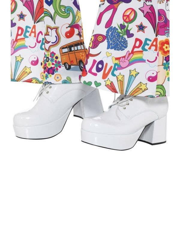 Men's White 70's Platform Smiffy's Fancy Dress Costume Disco Shoes