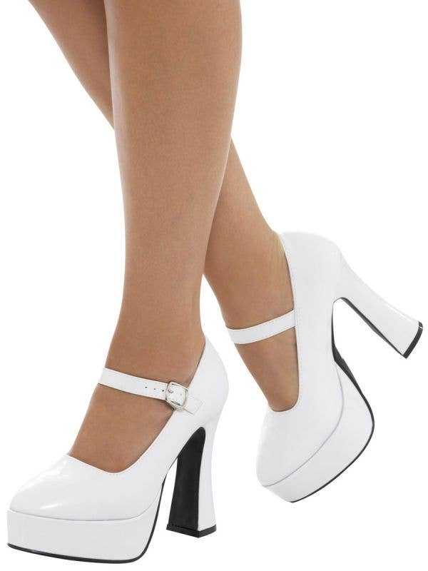 Womens White Platform 70s Disco Costume Shoes - Main Image