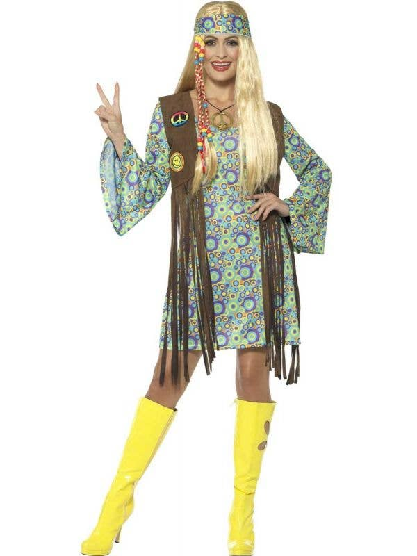 Women's Groovy Hippie Chick 1960's Costume Front View