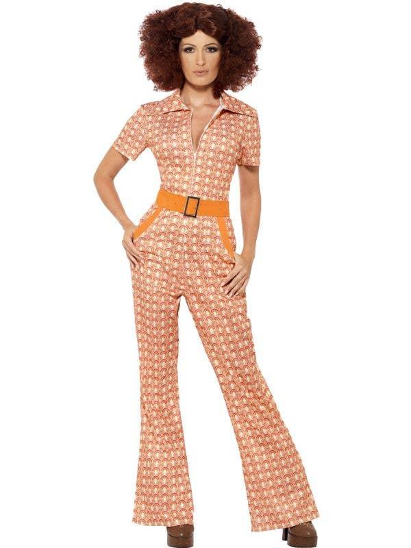 70's Chic Women's Retro Orange Jumpsuit Fancy Dress Costume Front View