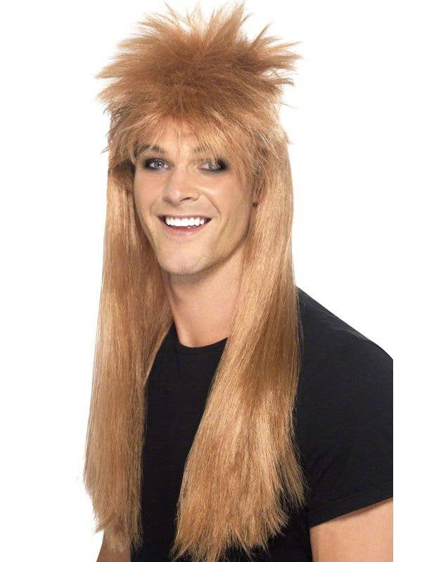 Men s Spiky Blonde 80 s Mullet Costume Wig 04717f671
