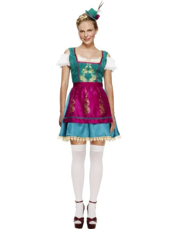 Women's Deluxe Purple and Green Oktoberfest Dirndl Costume Front Image