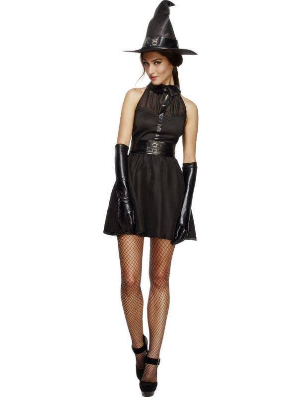 Women's Cute Black Witch Fancy Dress Costume Front View