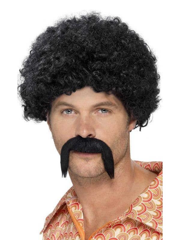 Smiffys Men-s 70-s Disco Dirtbag Black Afro and Moustache Costume Accessory Set- Main Image