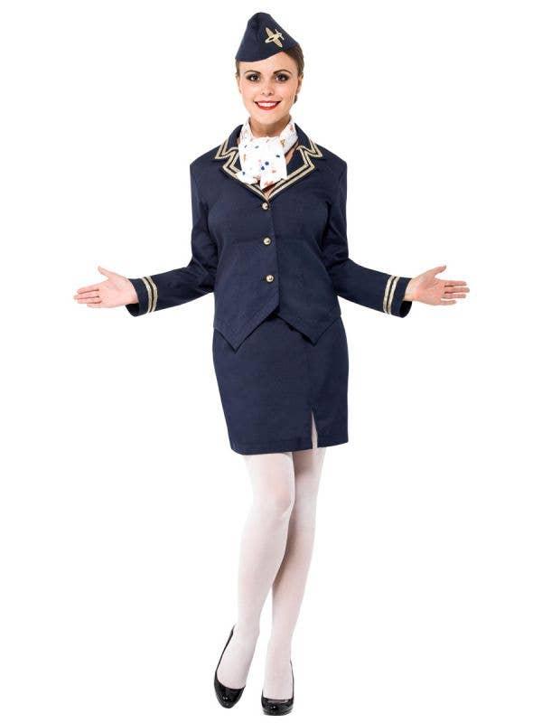 Navy Blue Flight Attendant Costume Front Image