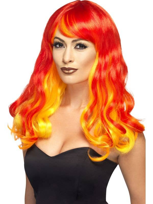 Flame Red Devil Women's Ombre Costume Wig Main Image