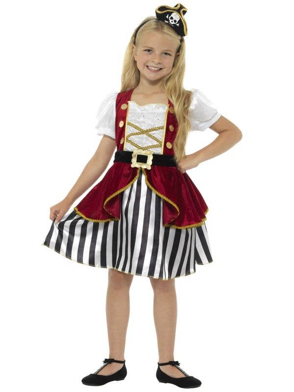 Kid's Pirate Girl's Deluxe Fancy Dress Costume Front View