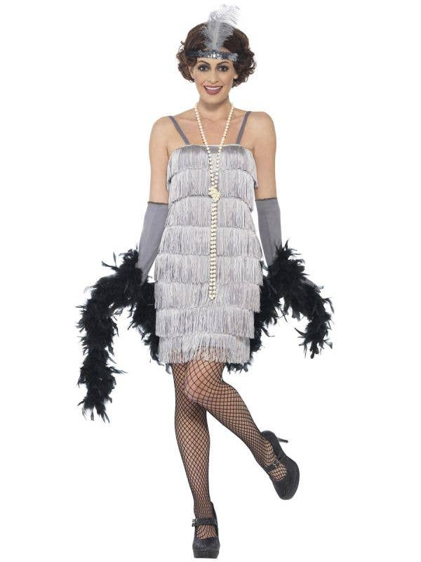Womens Silver Fringe Short 1920s Flapper Dress Great Gatsby Costume - Front Image