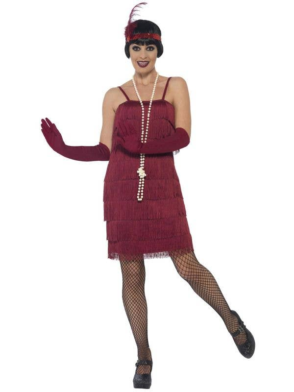 Womens Burgundy Flapper Dress with Matching gloves and headband with Feather - Main Image
