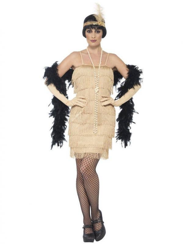 Womens Gold Flapper Dress with Matching Gloves and Flapper Headband with Feather - Main Image