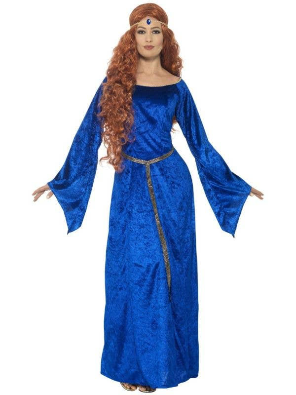 Women's Royal Blue Medieval Maiden Fancy Dress Costume Front Image