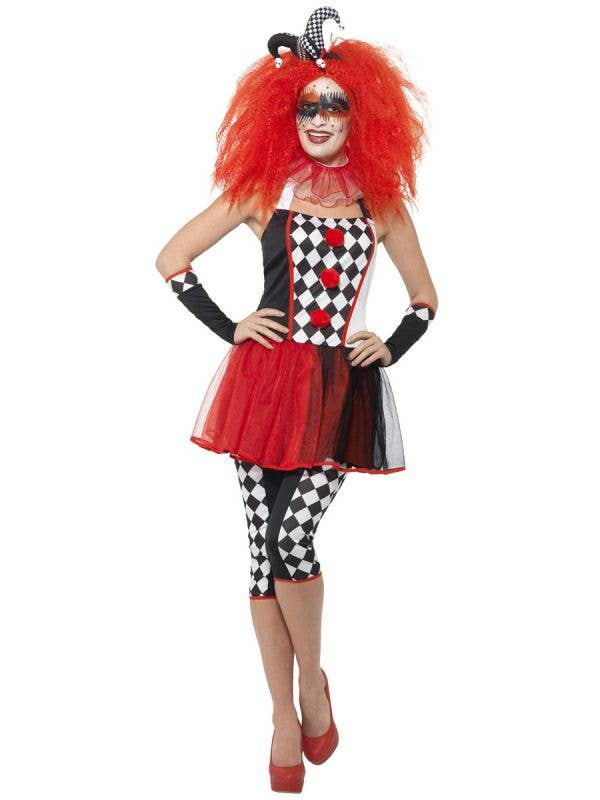 Women's Red and Black Twisted Jester Halloween Costume Front Image