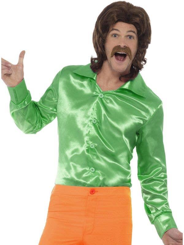 Hippie Clothes Mens Green Satin 60s Costume Shirt - Main Image