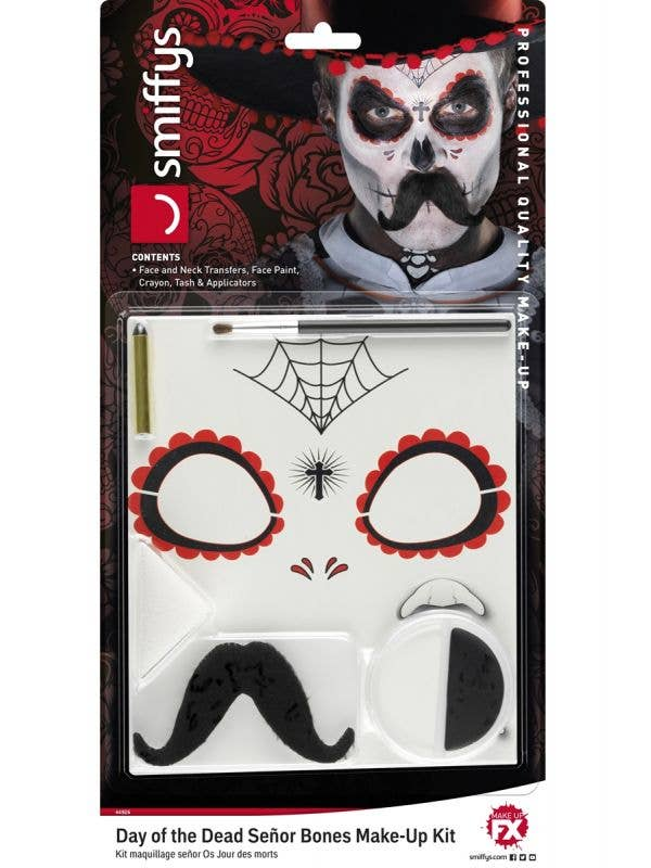 Temporary Tattoo and Facepaint Day of the Dead Makeup Kit 1