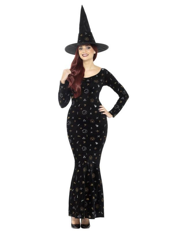 Women's Black Magic Ouija Witch Halloween Fancy Dress Costume Front Image
