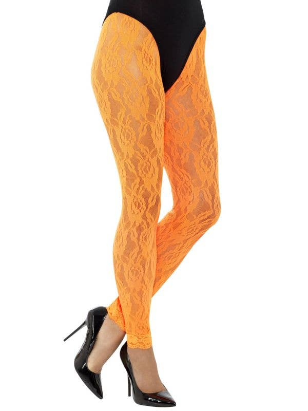 Footless Neon Orange Lace 80's Tights